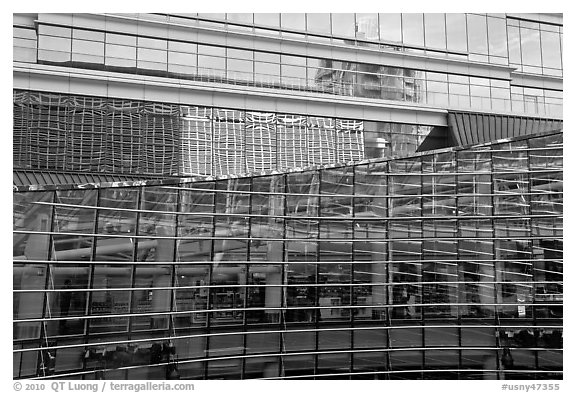 Reflections and glass walls, Bloomberg Tower. NYC, New York, USA (black and white)