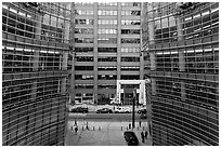 One Beacon Court courtyard from building. NYC, New York, USA ( black and white)