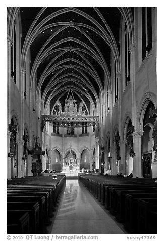 Church interior. NYC, New York, USA (black and white)