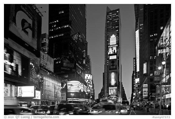 Times square at dusk nyc new york usa black and white