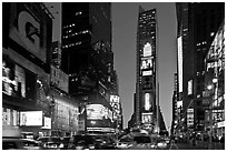 Times Square at dusk. NYC, New York, USA (black and white)