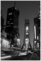 One Times Square at dusk. NYC, New York, USA ( black and white)