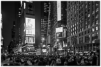 Crowds on Met Opera opening night, Times Square. NYC, New York, USA (black and white)