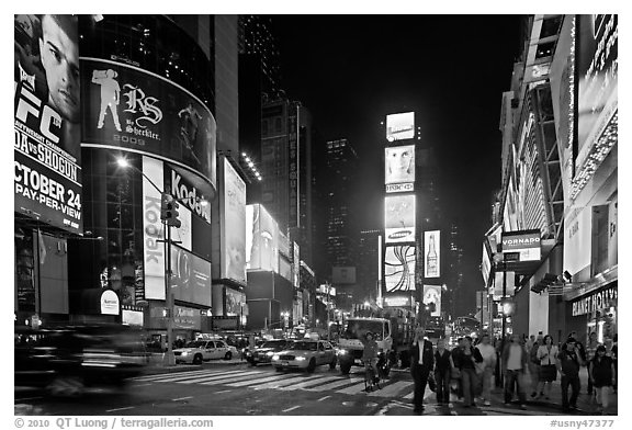 The Great White Way (Times Square) at night. NYC, New York, USA (black and white)