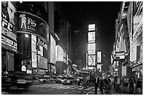 The Great White Way (Times Square) at night. NYC, New York, USA ( black and white)