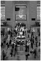 Bustling crowds in motion, Grand Central Station. NYC, New York, USA (black and white)