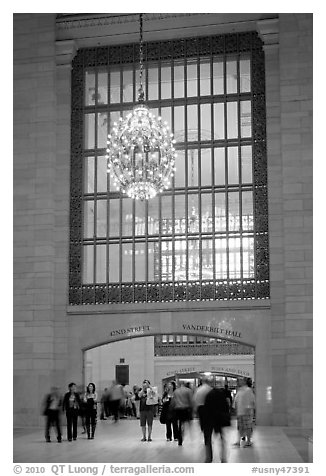 Gate and chandelier, Grand Central Terminal. NYC, New York, USA (black and white)