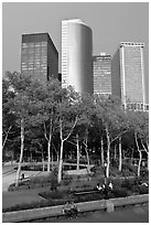Battery Park, Lower Manhattan. NYC, New York, USA ( black and white)