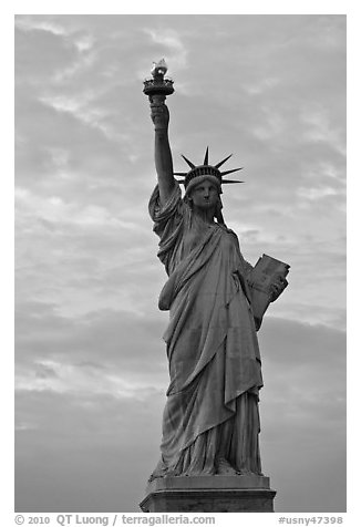 Statue of Liberty with lit torch, Statue of Liberty National Monument. NYC, New York, USA (black and white)