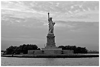 Liberty Island with Statue of Liberty. NYC, New York, USA (black and white)