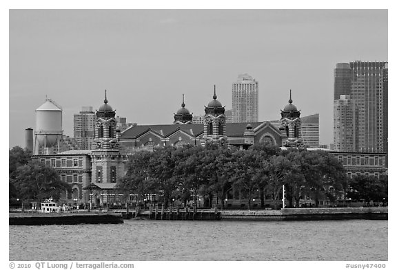 Ellis Island. NYC, New York, USA (black and white)