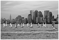 Sailboats, lower and mid Manhattan skyline. NYC, New York, USA ( black and white)