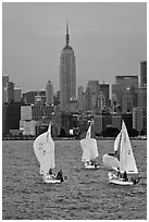 Sailboats and Empire State Building. NYC, New York, USA ( black and white)
