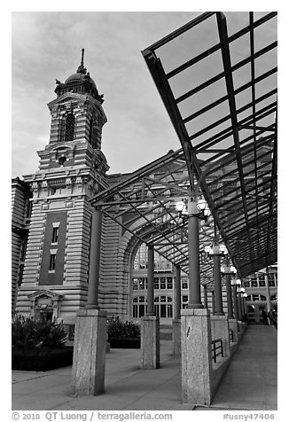 Entrance to Main Building, Ellis Island. NYC, New York, USA (black and white)