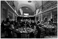 Gala dinner inside Main Building, Ellis Island. NYC, New York, USA (black and white)
