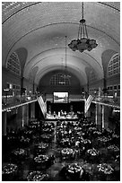 Great Hall of Main Building, Ellis Island. NYC, New York, USA (black and white)