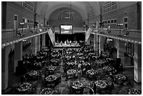 Gala, Great Hall of Immigration Museum, Ellis Island. NYC, New York, USA (black and white)