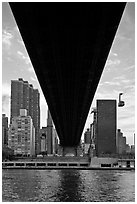 Queensboro bridge underside and tram. NYC, New York, USA ( black and white)