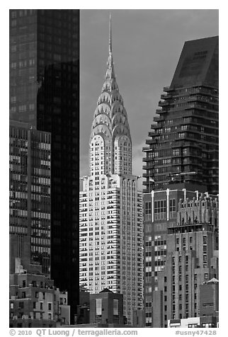 Chrysler Building from Roosevelt Island. NYC, New York, USA (black and white)