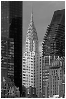 Chrysler Building from Roosevelt Island. NYC, New York, USA ( black and white)