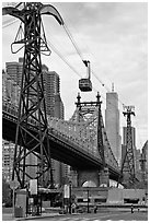 Roosevelt Island, Queensboro bridge, and tramway. NYC, New York, USA (black and white)