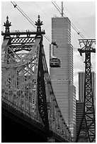Roosevelt Island Tramway and Queensboro bridge. NYC, New York, USA (black and white)
