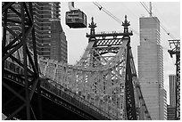 Aerial tramway car and Queensboro bridge. NYC, New York, USA ( black and white)