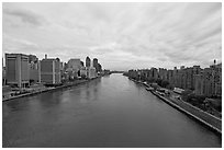Hudson River between Manhattan and Roosevelt Island. NYC, New York, USA ( black and white)