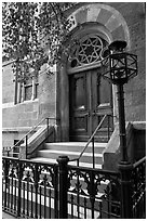 Central synagogue door. NYC, New York, USA (black and white)