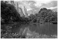 Pond and high-rise buildings, Central Park. NYC, New York, USA ( black and white)