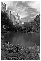 Central Park pond and nearby buildings. NYC, New York, USA ( black and white)