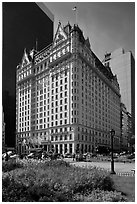 Grand Army Plaza and Plaza Hotel. NYC, New York, USA ( black and white)