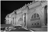 Metropolitan Museum at night. NYC, New York, USA ( black and white)