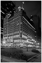 Plaza Hotel at night. NYC, New York, USA (black and white)