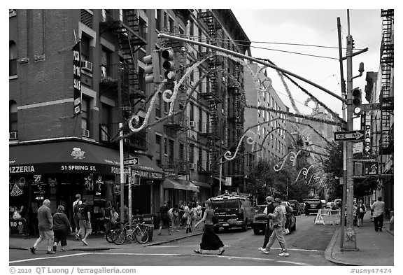 Little Italy street. NYC, New York, USA (black and white)