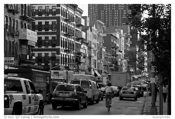 Bowery street. NYC, New York, USA (black and white)