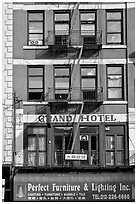 Facade detail, Bowery Hotel. NYC, New York, USA ( black and white)