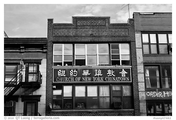 Facades, church of New York Chinatown. NYC, New York, USA (black and white)