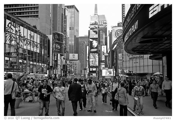 Crowds on Times Squares by day. NYC, New York, USA (black and white)