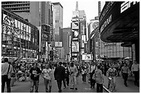 Crowds on Times Squares by day. NYC, New York, USA ( black and white)