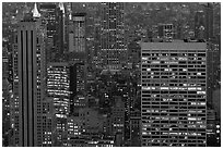 Mid-town towers at dusk from above. NYC, New York, USA ( black and white)