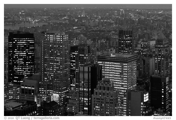Manhattan towers at dusk from above. NYC, New York, USA (black and white)
