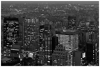 Manhattan towers at dusk from above. NYC, New York, USA ( black and white)