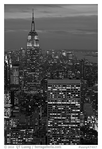 Empire State Building and skyline at night. NYC, New York, USA (black and white)