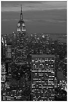 Empire State Building and skyline at night. NYC, New York, USA ( black and white)