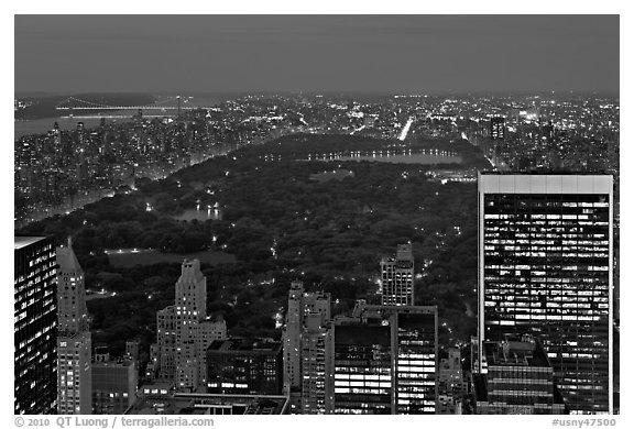 Central Park at night from above. NYC, New York, USA (black and white)