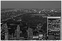 Central Park at night from above. NYC, New York, USA ( black and white)