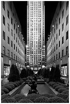 Rockefeller center by night. NYC, New York, USA ( black and white)