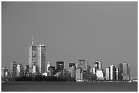 South Manhattan and WTC at dusk. NYC, New York, USA ( black and white)