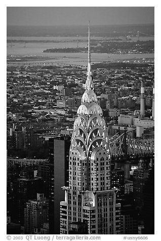 Black And White Picture Photo Chrysler Building Seen From The Empire State At Dusk NYC New York USA